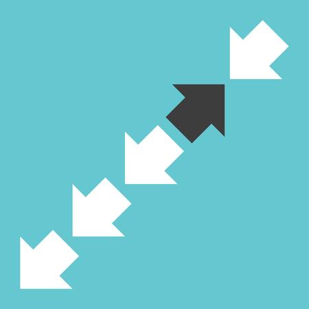 Een zwarte tegengestelde richtingpijl in rij van vele witte op turkooisblauw. Moed, uniekheid en individualiteitsconcept. Stock Illustratie