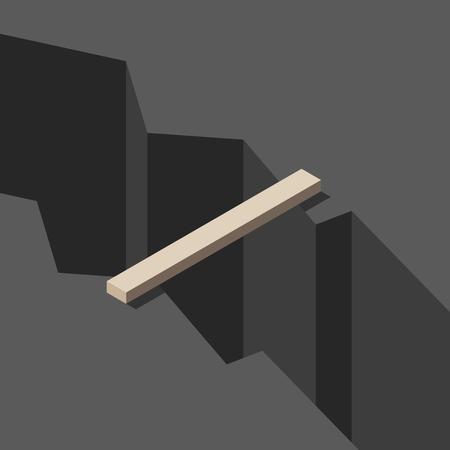 Isometrische hölzerne Plankenbrücke über großem dunklem tiefem Riss. Konzept für Lösung, Lücke, Kommunikation, Risiko und Herausforderung.