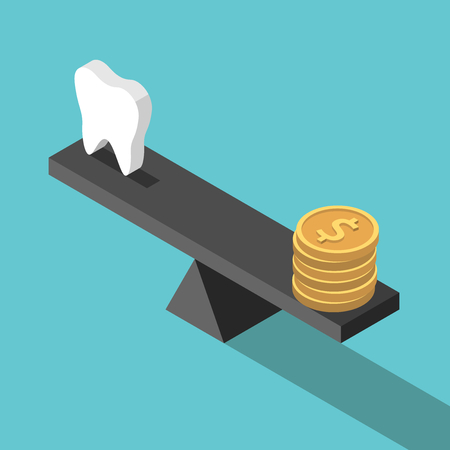 Isometric white tooth and gold dollar coins on seesaw weight scales on turquoise blue. Dental care, health, price and money concept. Illustration
