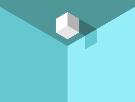 Isometric cube with shadow on ceiling in turquoise blue room. Weirdness and chaos concept. Flat design. Vector illustration, no transparency, no gradients.
