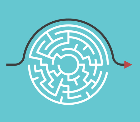 Circular maze with entrance and exit and bypass route arrow going around it. Problem and solution concept. Flat design. Vector illustration, no transparency, no gradients.