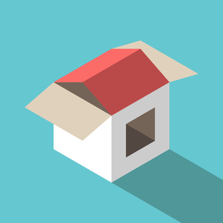 Isometric simple house made of cardboard box on turquoise blue background. Home, real estate and construction concept. Flat design. Vector illustration, no transparency, no gradients. Illustration
