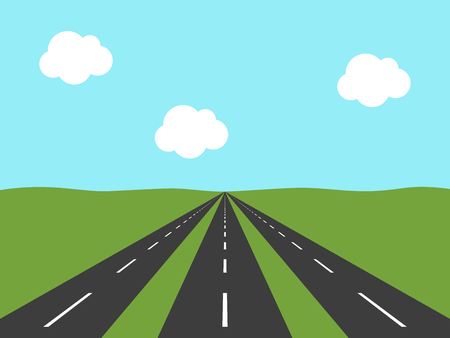 Three parallel asphalt roads going far away in green field to horizon and light blue sky. Perspective view. Opportunity concept. Flat design. Vector illustration, no transparency, no gradients. Illustration