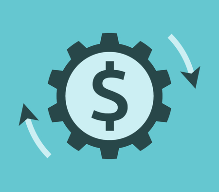Rotating cog wheel with dollar sign and arrows. Investment, money, market and business concept. Flat design. Vector illustration, no transparency, no gradients