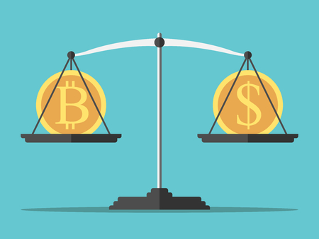 Bitcoin and dollar coin on weight scales on turquoise blue background. Money, finance and exchange rate concept. Flat design. Vector illustration, no transparency, no gradients Ilustrace