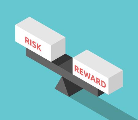 Isometrische wipweegschaal met risico- en beloningsblokken op turkooisblauw. Investeringen, zaken, kansen en besluitconcept. Plat ontwerp. Vector illustratie, geen transparantie, geen verlopen