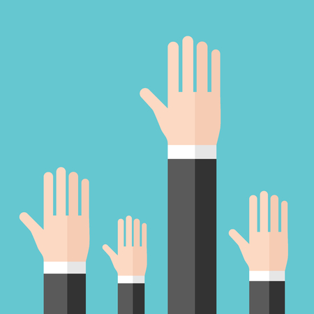 Hands of businessmen raised to ask question, answer or volunteer on turquoise blue background. Training, meeting and conference concept. Flat design. Vector illustration, no transparency, no gradients