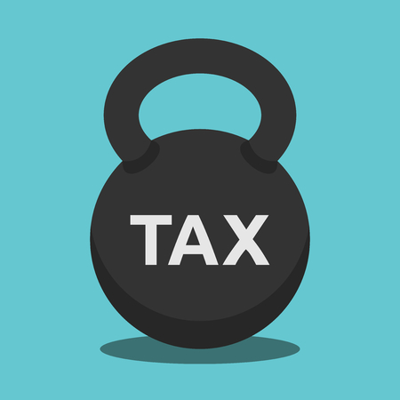 Heavy kettlebell, sport weight with word tax on turquoise blue background. Business, money and economics concept. Flat design. Vector illustration, no transparency, no gradients