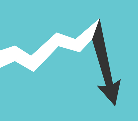 Line graph with arrow showing long progressive growth and abrupt drop after it. Finance, investment, risk analysis and crysis concept. Flat design. Vector illustration, no transparency, no gradients Ilustrace