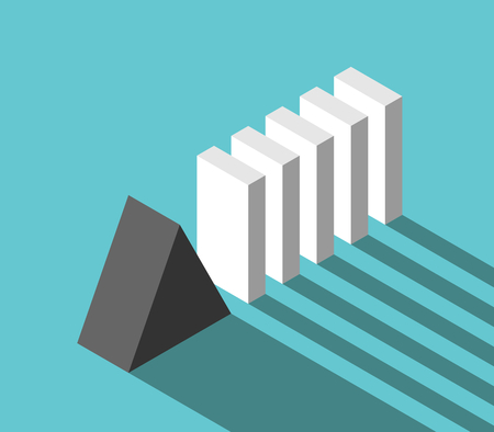 Isometric stable reliable triangular prism stopping potential crisis and domino effect. Security, risk, management and solution concept. Flat design. Vector illustration, no transparency, no gradients