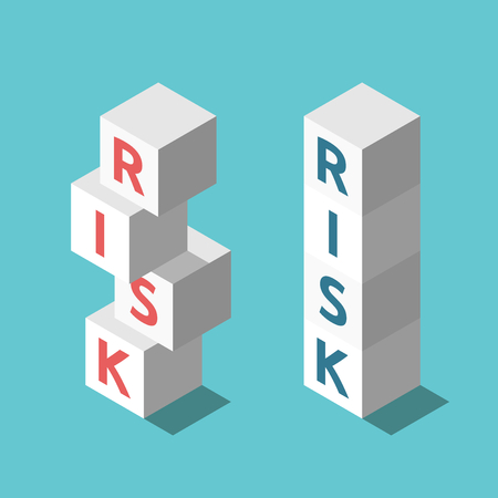 Two isometric stacks of cubes, stable and unstable, on turquoise blue background. Risk management, investment and stability concept. Flat design. Vector illustration, no transparency, no gradients