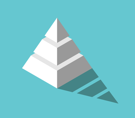Isometric white pyramid with three levels and drop shadow on turquoise blue background. Hierarchy, structure and development concept. Flat design. Vector illustration, no transparency, no gradients Vektoros illusztráció