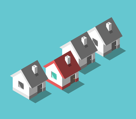 Isometric unique color house standing out from row of gray monochrome ones on turquoise blue. Real estate, home and investment concept. Flat design. Vector illustration, no transparency, no gradients