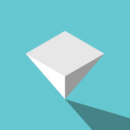 Isometric white inverted pyramid standing upside down on turquoise blue background. Balance, challenge, instability and finance concept. Flat design. Vector illustration, no transparency, no gradients 向量圖像