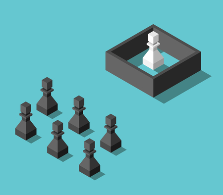 Group of isometric free black pawns and single white one imprisoned behind wall. Prejudice, separation and misunderstanding concept. Flat design. Vector illustration, no transparency, no gradients