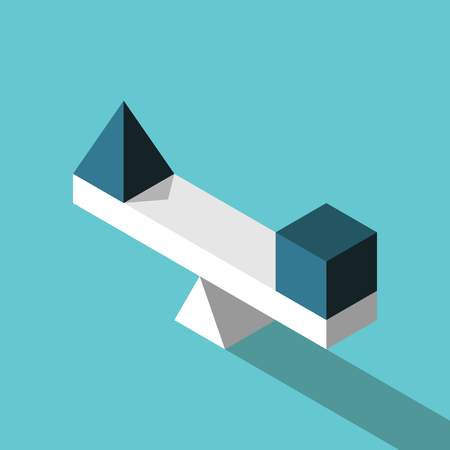 Blue isometric pyramid and cube on seesaw weight scale on turquoise background. Balance, harmony and comparison concept. Flat design. Vector illustration, no transparency, no gradients
