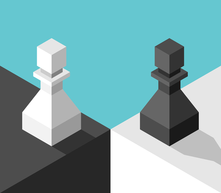 Isometric different white and black chess pawns standing on two sides. Opposition concept. Flat design. Vector illustration, no transparency, no gradients Ilustração