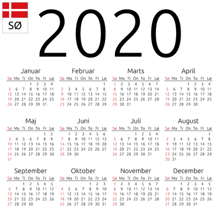 Simple annual 2020 year wall calendar. Danish language. Week starts on Sunday. Sunday highlighted. No holidays highlighted. EPS 8 vector illustration, no transparency, no gradients