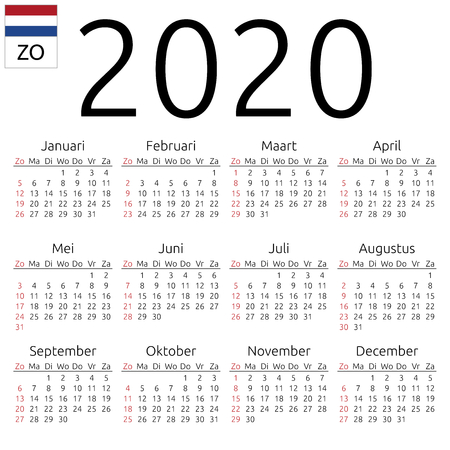 Simple annual 2020 year wall calendar. Dutch language. Week starts on Sunday. Highlighted Sunday, no holidays. EPS 8 vector illustration, no transparency, no gradients