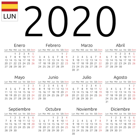 Simple annual 2020 year wall calendar. Spanish language. Week starts on Monday. Sunday highlighted. No holidays highlighted. EPS 8 vector illustration, no transparency, no gradients 일러스트