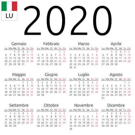 Simple annual 2020 year wall calendar. Italian language. Week starts on Monday. Saturday and Sunday highlighted. No holidays highlighted. EPS 8 vector illustration, no transparency, no gradients Illustration