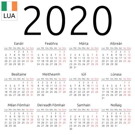 Simple annual 2020 year wall calendar. Irish language. Week starts on Monday. Highlighted Saturday and Sunday, no holidays. EPS 8 vector illustration, no transparency, no gradients Ilustração
