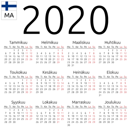 Simple annual 2020 year wall calendar. Finnish language. Week starts on Monday. Highlighted Saturday and Sunday, no holidays. EPS 8 vector illustration, no transparency, no gradients Иллюстрация