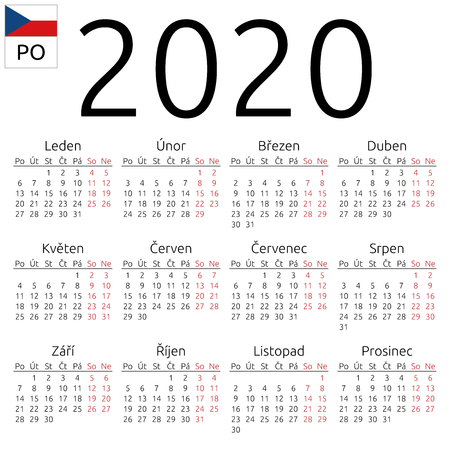 Simple annual 2020 year wall calendar. Czech language. Week starts on Monday. Saturday and Sunday highlighted. No holidays highlighted. EPS 8 vector illustration, no transparency, no gradients