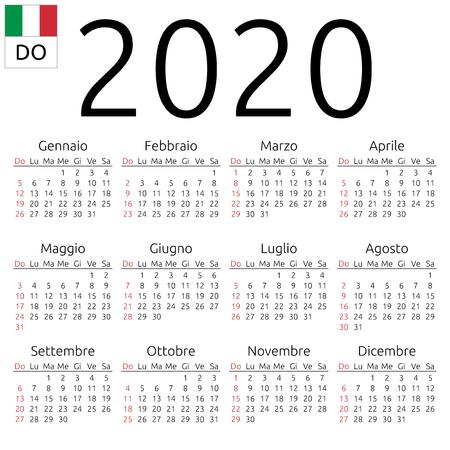 Calendario de pared anual simple de 2020 años. Idioma italiano. La semana comienza el domingo. Domingo destacado. No se destacaron los días festivos. Ilustración de vector EPS 8, sin transparencia, sin degradados