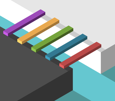Many different isometric multicolor bridges conncecting two sides. Bridging the gap, problem, choice, crisis and opportunity concept. Flat design. Vector illustration, no transparency, no gradients
