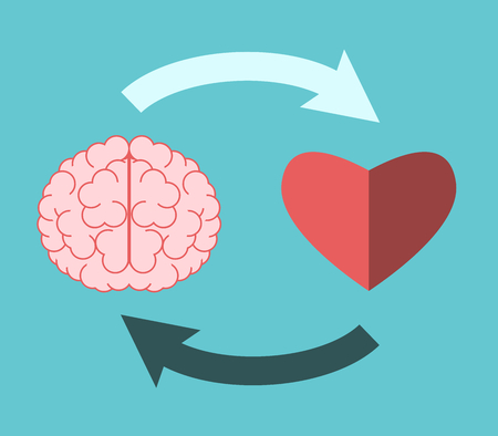 Brain and heart mutually connected with circular  arrows on turquoise blue. Emotional intelligence, creativity, love and logic concept. Flat design. Vector illustration, no transparency, no gradients