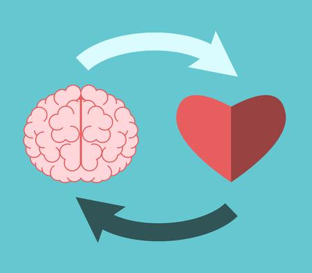 Cerebro y corazón conectados mutuamente con flechas circulares en azul turquesa. Concepto de inteligencia emocional, creatividad, amor y lógica. Diseño plano. Ilustración vectorial, sin transparencia, sin degradados