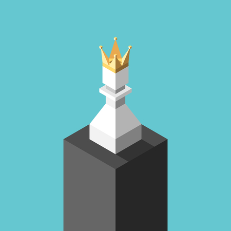 Isometric white chess pawn with gold crown on pedestal on turquoise blue. Achievement, success, loneliness and vanity concept. Flat design. Vector illustration, no transparency, no gradients