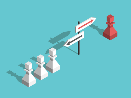 Isometric red unique chess pawn choosing its own different direction and many white ones. Uniqueness, courage and will power concept. Flat design. Vector illustration, no transparency, no gradients