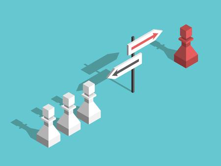 Pedone degli scacchi unico rosso isometrico che sceglie la propria direzione diversa e molti bianchi. Unicità, coraggio e concetto di forza di volontà. Design piatto. Illustrazione vettoriale, senza trasparenza, senza sfumature