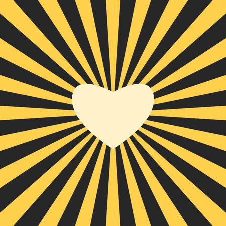 Yellow heart shaped sun in black darkness. Love, sharing, warmth and sincerity  concept. Flat design. Vector illustration, no transparency, no gradients Иллюстрация