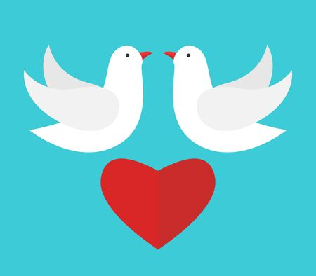 Two white doves flying above red heart and looking at each other on turquoise blue sky background. Love, wedding day and peace concept. Flat design. Vector illustration, no transparency, no gradients
