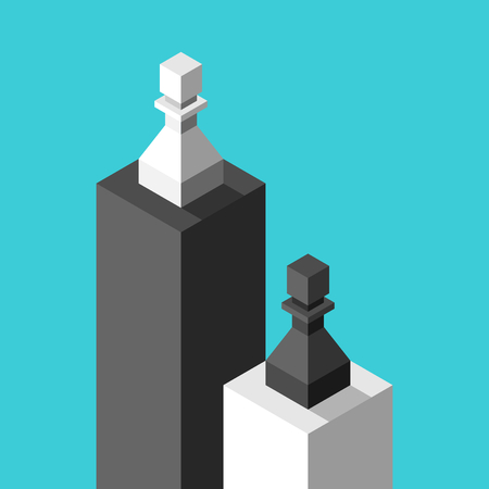 Isometric white and black chess pawns on low and high pedestals on turquoise blue. Inequality, discrimination and racism concept. Flat design. Vector illustration, no transparency, no gradients Ilustração