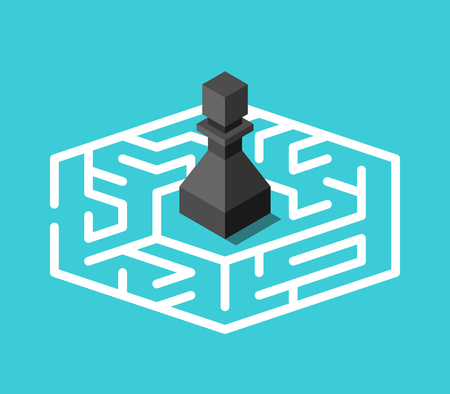 Isometric black chess pawn standing lost in centre of maze on turquoise blue background. Confusion, problem and mystery concept. Flat design. Vector illustration, no transparency, no gradients
