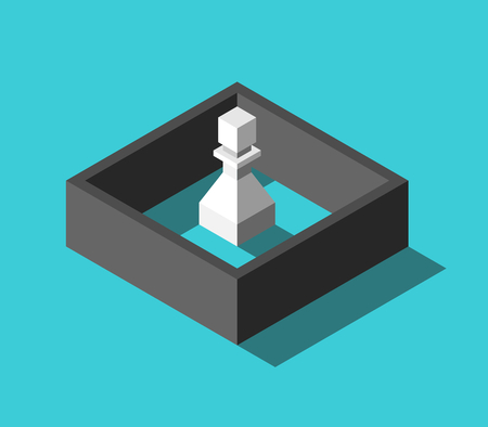 Isometric white chess pawn closed behind black wall on turquoise blue background. Imprisonment, isolation and loneliness concept. Flat design. Vector illustration, no transparency, no gradients Ilustração