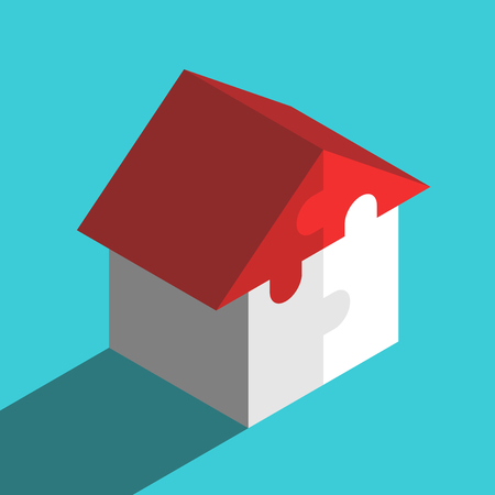 Isometric house with red roof assembled from four puzzle pieces on turquoise blue background. Family, home and real estate concept. Flat design. Vector illustration, no transparency, no gradients