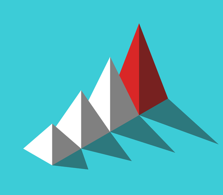 Isometric red unique leader pyramid in front of many white ones on turquoise blue. Leadership, management and uniqueness concept. Flat design. Vector illustration, no transparency, no gradients Ilustração