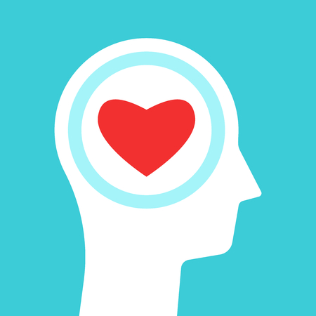 White head silhouette with red heart inside it on turquoise blue background. Love, emotion, sense and passion concept. Flat design. Vector illustration, no transparency, no gradients
