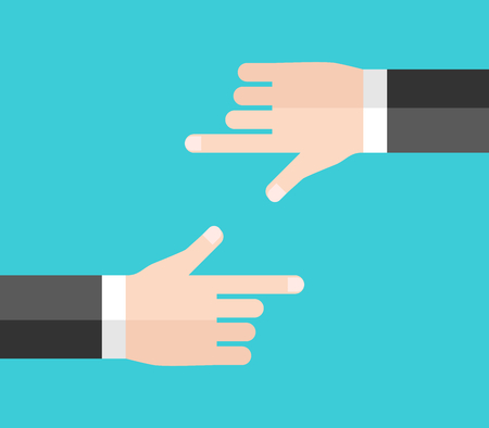 Two businessmen blaming and pointing with hands at each other. Rivalry, conflict and shirking responsibility concept. Flat design. Vector illustration, no transparency, no gradients Ilustração