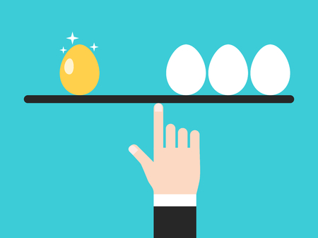 One gold and three white ordinary eggs balancing on hand of businessman. Investment, success, business, luck and wealth concept. Flat design. Vector illustration, no transparency, no gradients