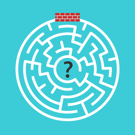Circular maze immured, walled-up with bricks on turquoise blue background. Hopelessness, despair and difficult problem concept. Flat design. Vector illustration, no transparency, no gradients Ilustração