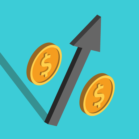 Isometric percent sign with dollar coins and black arrow on turquoise blue. Rate, growth, investment, finance and market concept. Flat design. Vector illustration, no transparency, no gradients