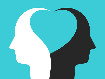 Two white and black head silhouettes united by heart shape inside them on turquoise blue. Unity, tolerance, peace and love concept. Flat design. Vector illustration, no transparency, no gradients
