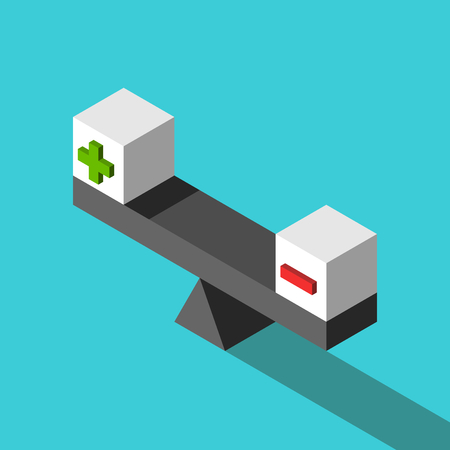 Two isometric white cubes with green plus and red minus signs on weight scale. Balance, positive and negative, pros and cons concept. Flat design. Vector illustration, no transparency, no gradients
