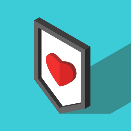 Isometric shield with red heart on turquoise blue background. Courage, health care, love, relationship and insurance concept. Flat design. Vector illustration, no transparency, no gradients